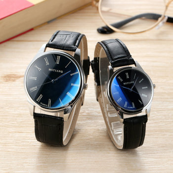 Rich Tree Couple Watch Fashion Simple Men And Women 40mm30mm Blue Dial Belt Watch Trend Fashion Noble Brand Couple Watch