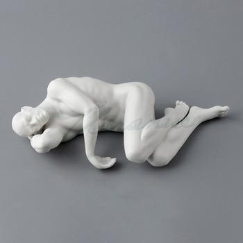 Weroni creative design Ceramic glaze Art Naked men lie on the side of pillow and hand  Fife home Factory Statue Figure sculptur