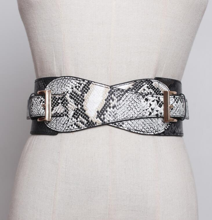 Women's Runway Fashion Snake Skin Print Pu Leather Cummerbunds Female Dress Corsets Waistband Belts Decoration Wide Belt R1824