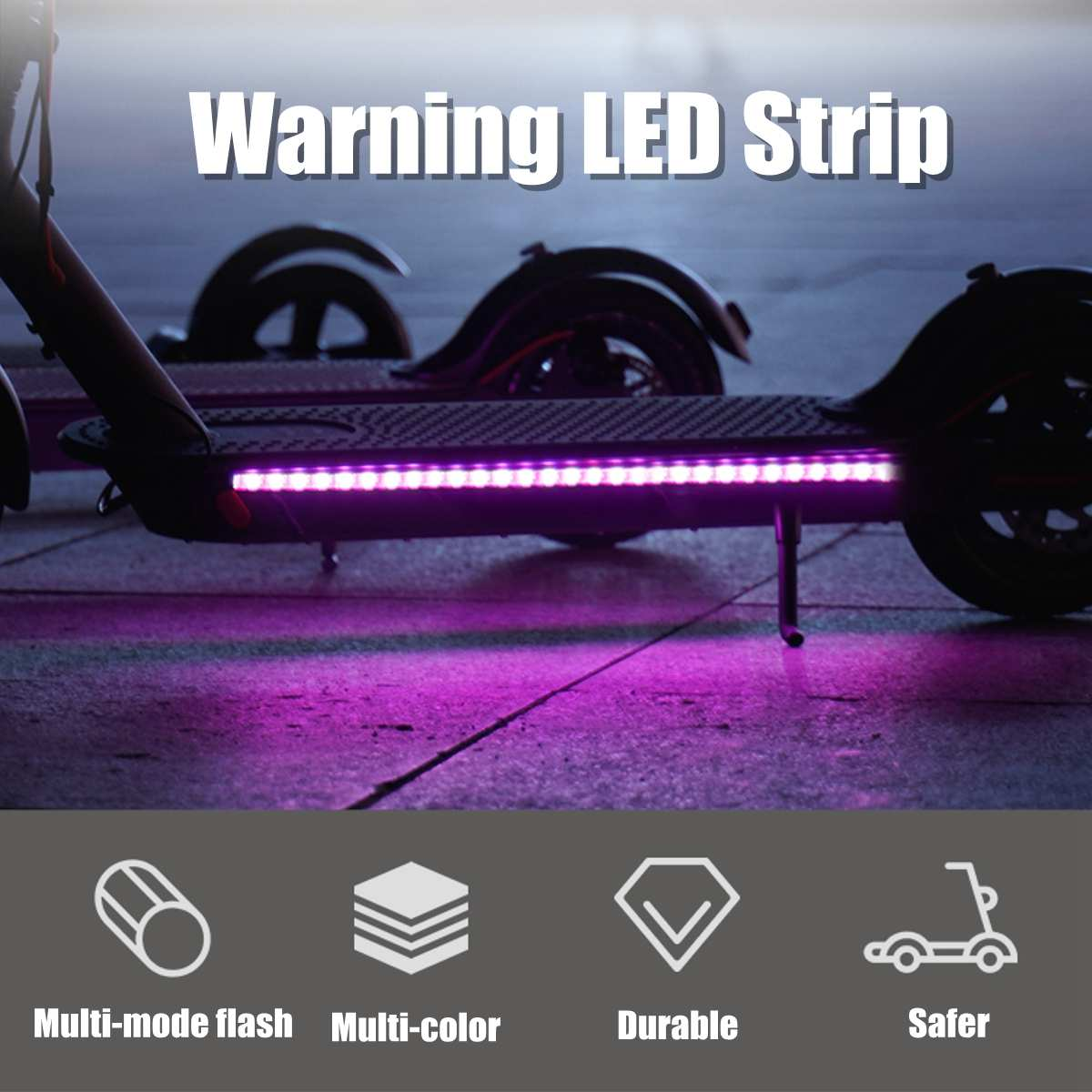 Warning LED Strip Flashlight Bar Lamp For Xiaomi Mijia M365 Electric Scooter Skateboard Night Cycling Safety Decorative Light