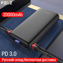 Pzoz 20000Mah Power Bank Usb C Pd Fast Charger Voor Iphone Samsung Xiaomi Type C Quick Charge 3.0 Usb powerbank Externe Batterij(China)