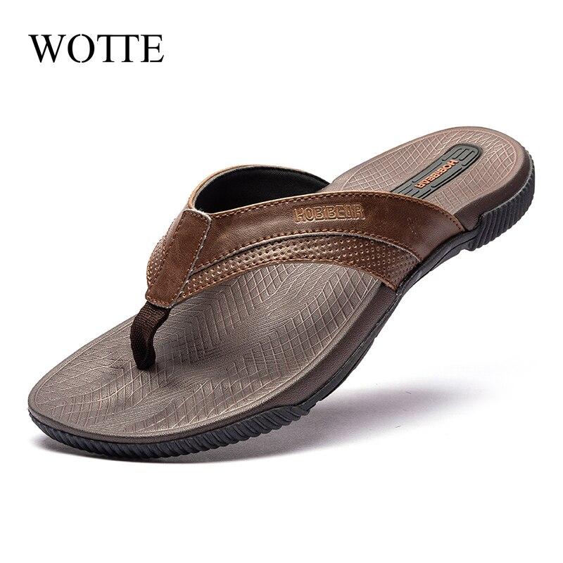WOTT Mens Flip Flops Moda Chinelos Chinelos de Praia Sandálias de Verão Sapatos Casuais para Homens Fora tamanho Grande 40 ~ 46 zapatos hombre