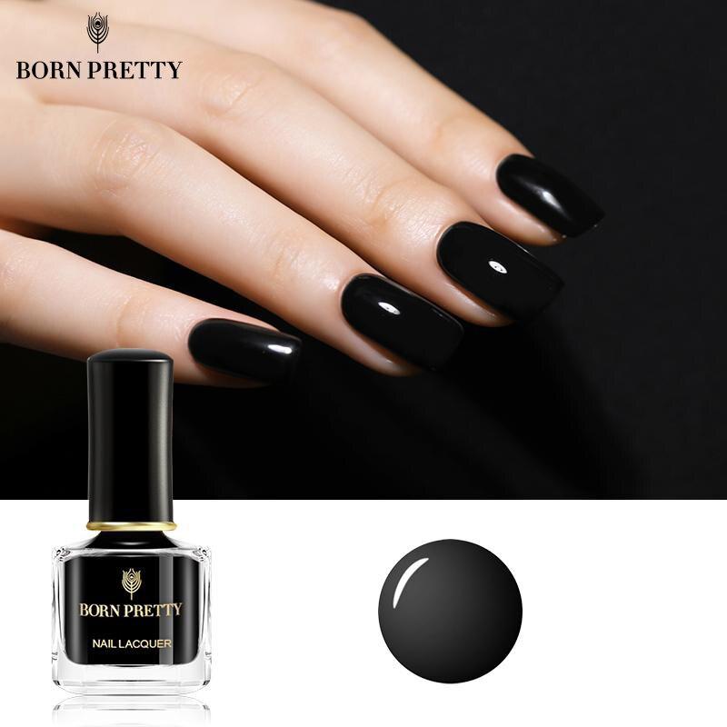BORN PRETTY глянцевый черный лак для ногтей 7 мл базовый черный Базовый лак для ногтей Сделай Сам лак для дизайна ногтей