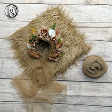 Don&Judy Newborn Photography 3pcs/set 150x100cm Fur Blanket + Newborn & Sitter Bonnet + 140x30cm Wrap Accessories Photo Shoot