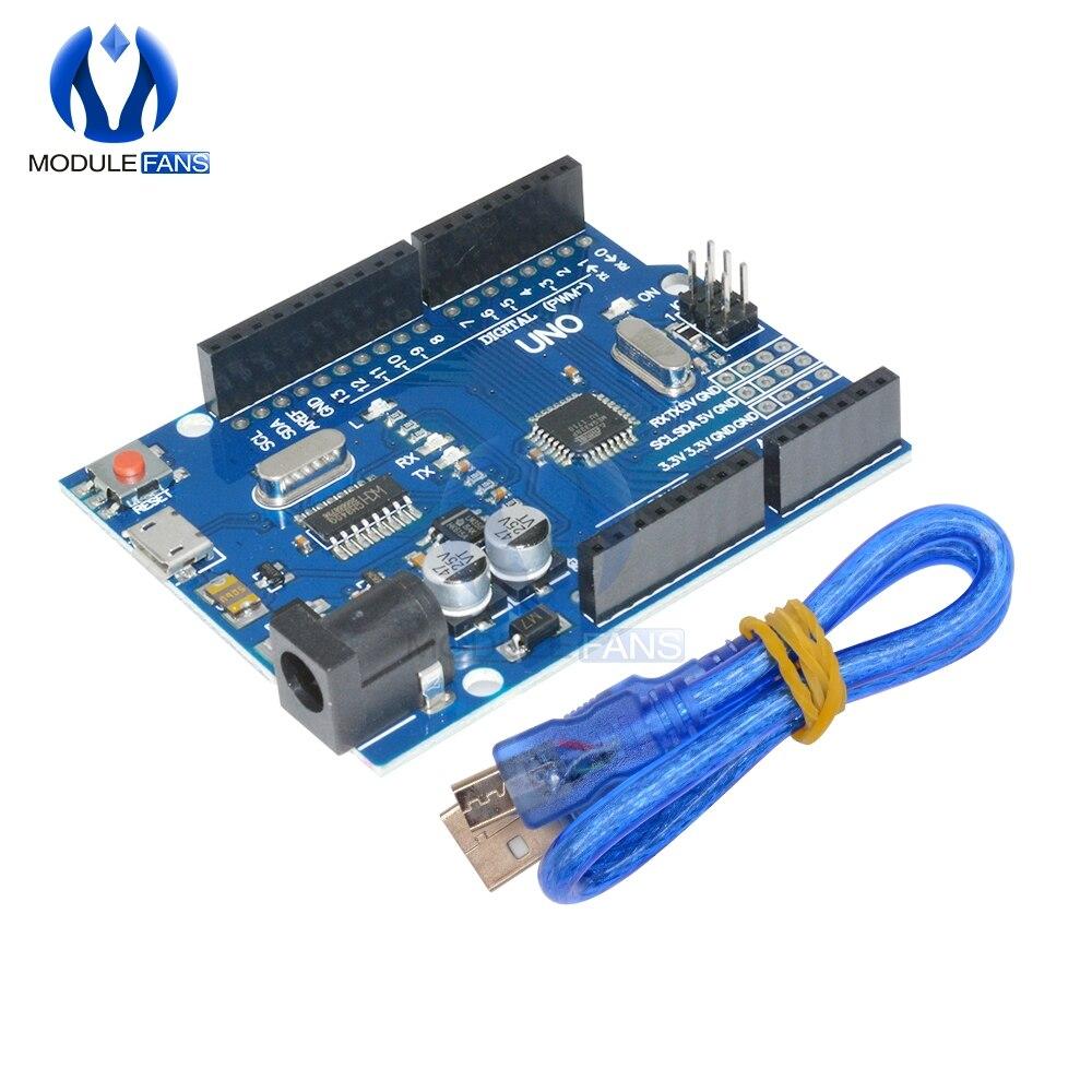 Классная версия платы UNO R3 CH340G CH340 G MEGA328P ATMEGA328 ATMEGA328P, плата, совместимая с микро USB с кабелем, Комплект «сделай сам»