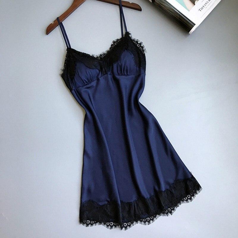 Hot Sexy Nightgown Dress Women Soft Ice Silk Summer Lace Night Dress Sleepwear Babydoll Nightie Satin Homewear Chest Pad 5