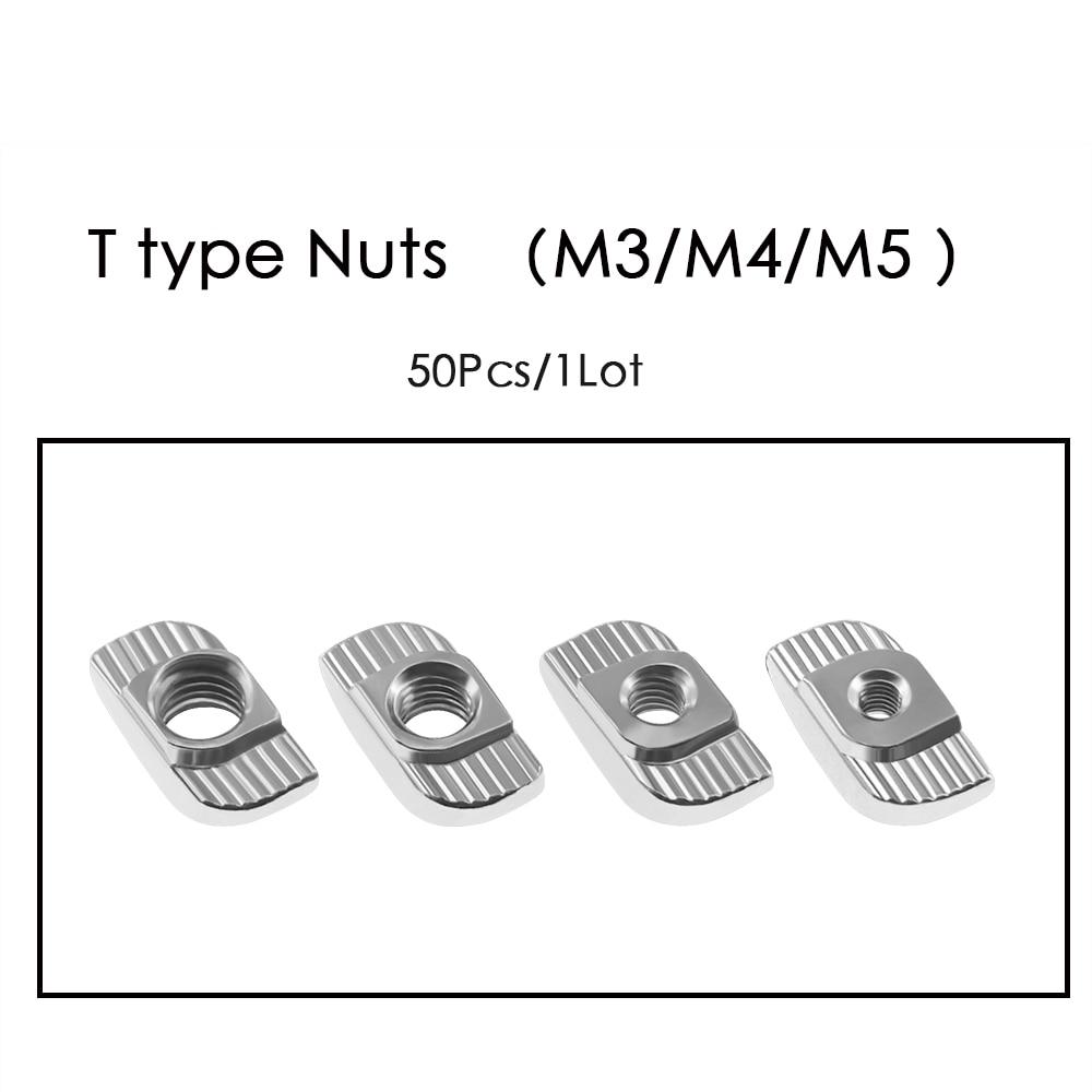 50pcs-lot TWO TREES 3D Printer Parts M3-M4-M5 Carbon Steel T type Nuts Fastener Aluminum Connector F