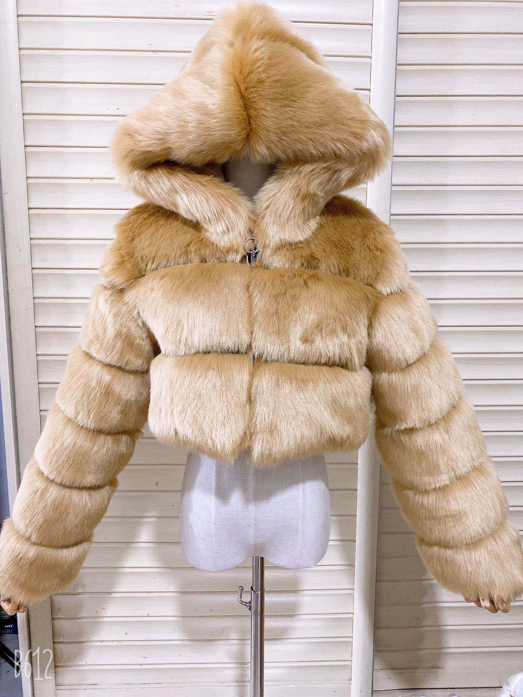 H4cfa4f39ab8c4a32b9613e706de724b10 GAMPORL Fashion Winter High Quality Faux Fox Fur Coat Women Vintage Long Sleeve With Cap Slim Short Jackets Furry Coat Femme