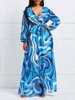 African Floral Print Boho Beach Maxi Dress Oversize Blue Long Dresses Women Fashion Sexy Sundress XXL Bohemian Casual Trips Robe