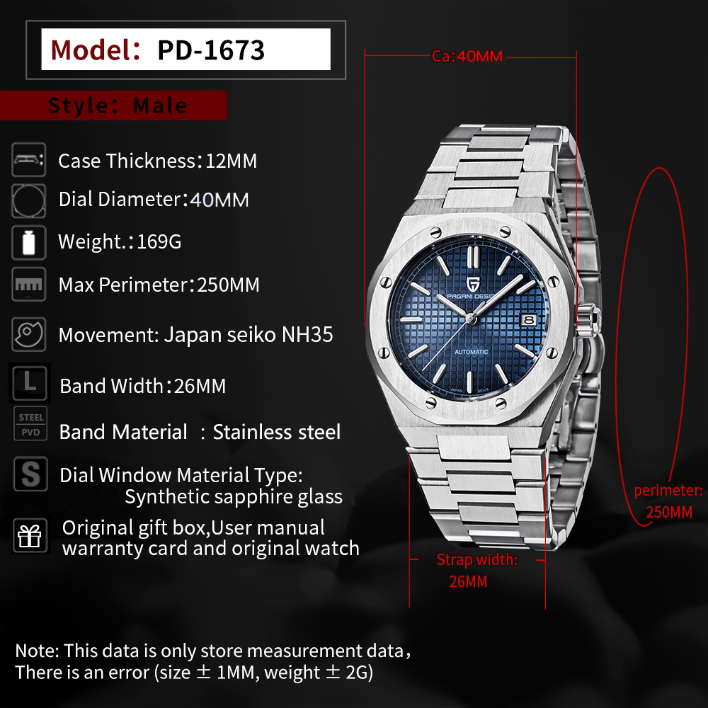 2021 PAGANI DESIGN Top Brand New 40mm Men's Automatic Mechanical Watches NH35A Sapphire Stainless Steel Men's watch reloj hombre 2