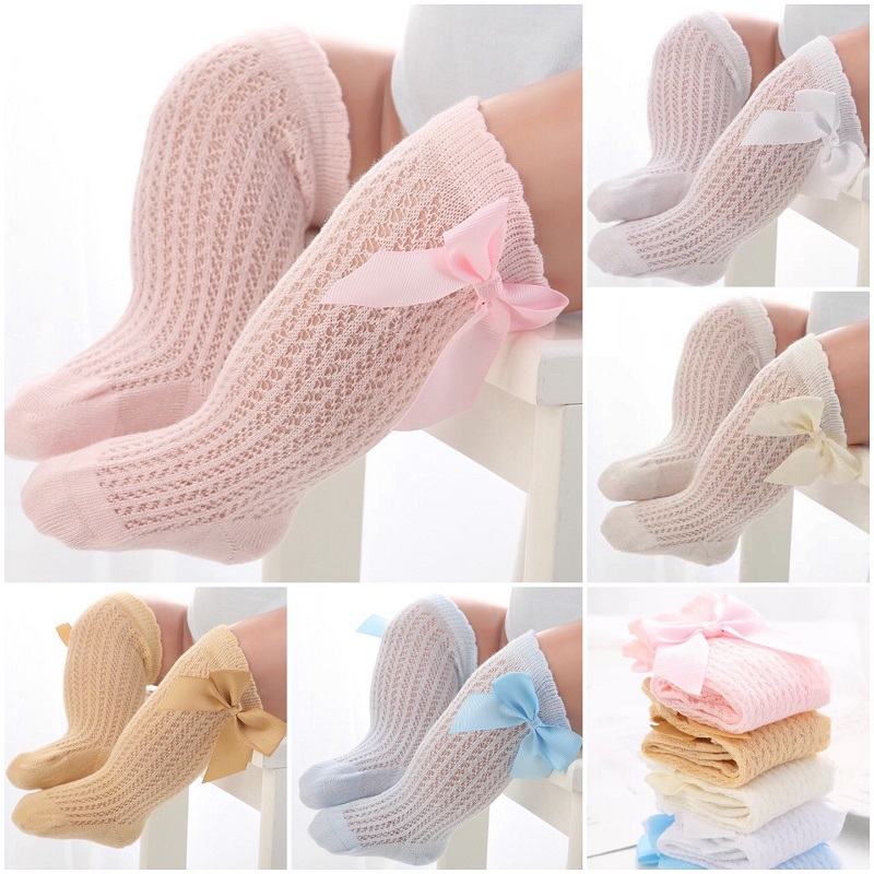 baby-girl-socks-baby-summer-mesh-breathable-long-socks-pure-color-knee-high-socks-with-bowknot-fashion