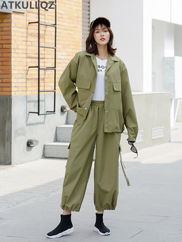 western style light fashion style large size temperament long sleeve coat +overalls casual pants minimalist style two-piece suit