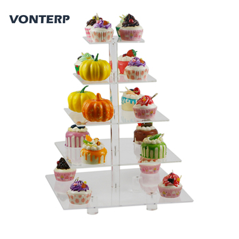 "HMROVOOM 1 PC square 5 Tier Transparent  Acrylic Cupcake Stand /acrylic cake stand with base  5 Tier Square(4"" between 2 layers)"