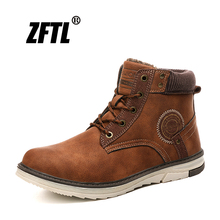 ZFTL New Men Snow boots winter Military Martins mens leather retro plus cotton shoes male tooling  0132