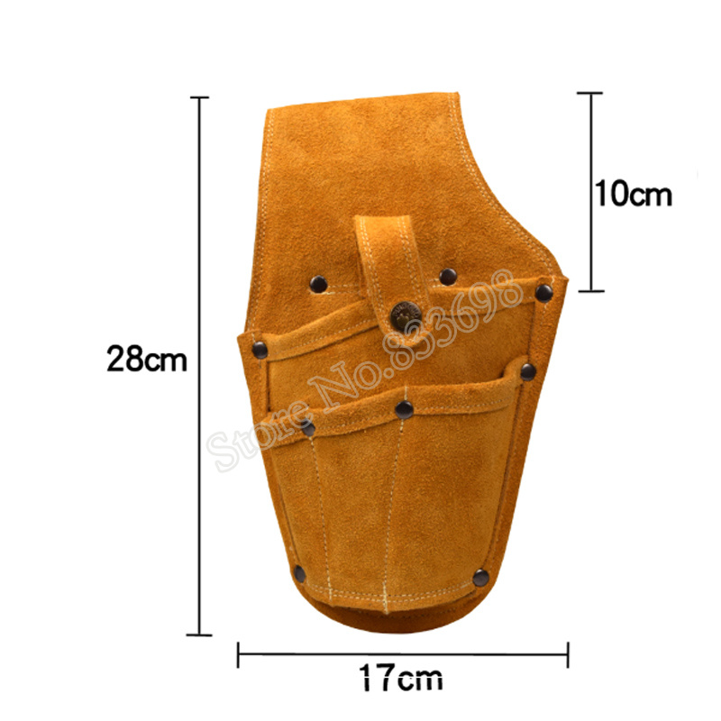 Image 3 - Cowhide Drill Holster Waist Tool Bag Electric Waist Belt Tool Pouch Bag with Belt for Power Drill Electric ScrewdriverTool Bags   -