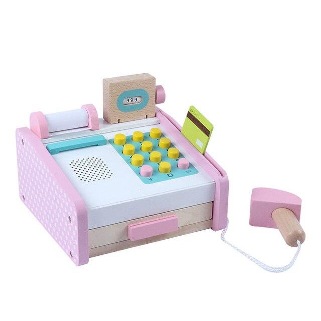 Деревянные детские развивающие игрушки Моделирование кассовый аппарат Registradora торговый стол ролевые игры игрушка для детей подарок