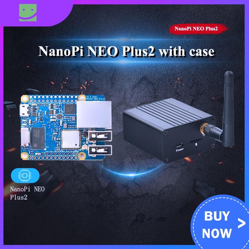 Friendly NanoPi NEO Plus2 All-in-one H5 Gigabit Ethernet Port IoT Development Board WiFi Bluetooth With Metal Case With Heatsink