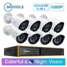 Movols 1080P 8CH DVR CCTV камера система 4 шт красочные 4 шт ИК ночного видения камера безопасности ИК водонепроницаемый комплект видеонаблюдения