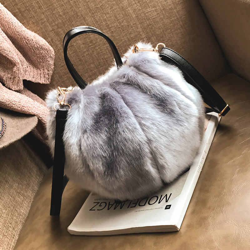 Korean-style Creative Maomao Bag Small Bucket Bag 2017 Autumn And Winter New Style Fashion Cool Plush Hand Shoulder Bag WOMEN'S