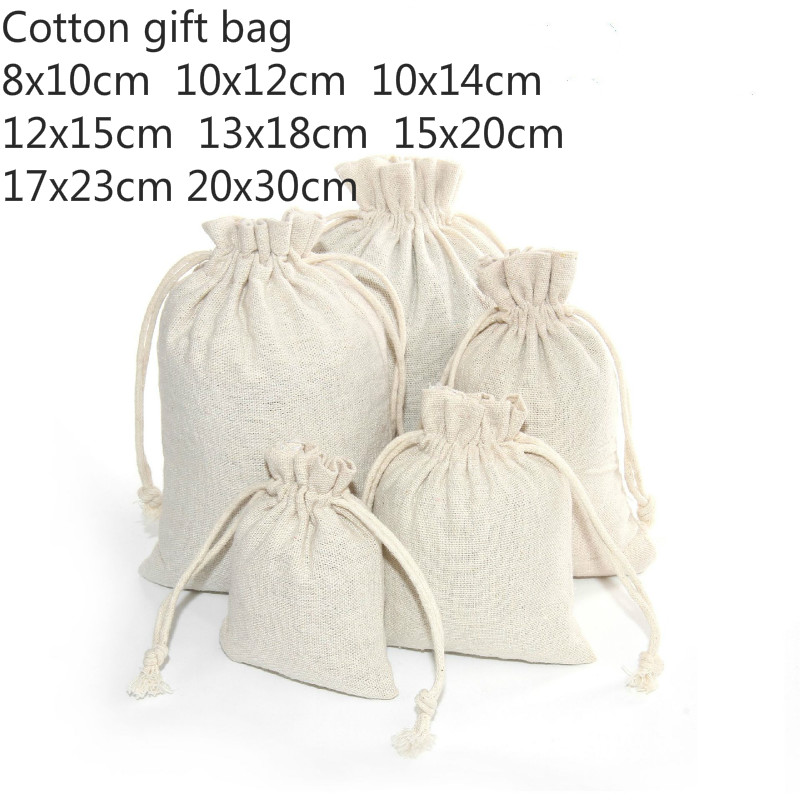 10pcs/lot 8 Sizes Linen Cotton Bag Cosmetics Gifts Jewelry Packaging Bags Cute Drawstring Candy Bag Wedding Party Packaging Bags