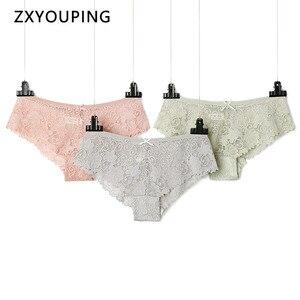 Image 1 - Lote de 3 unidades de ropa interior Floral para mujer, bragas de encaje caladas, lencería transparente de tiro bajo con lazo, talla grande 3Xl