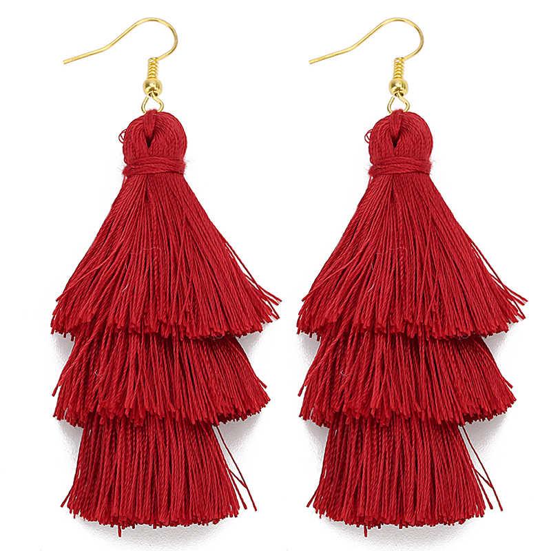 3 warstwowe artystyczne z frędzlami luksusowe modne kolczyki z frędzlem Boho indyjska biżuteria kolczyki Boho valentine kolczyki Drop kolczyki