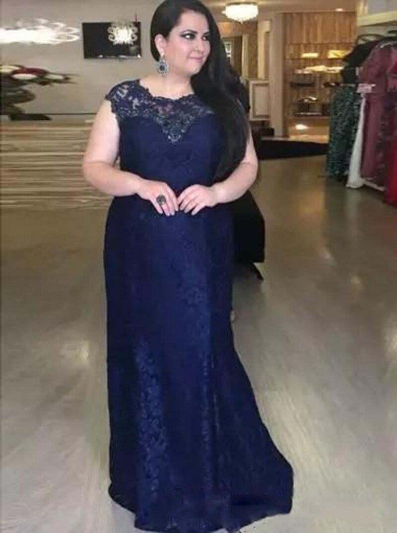 2020 bleu marine bijou cou dentelle Appliques mère de mariée robes de marié casquette à manches courtes grande taille soirée robes de bal personnaliser