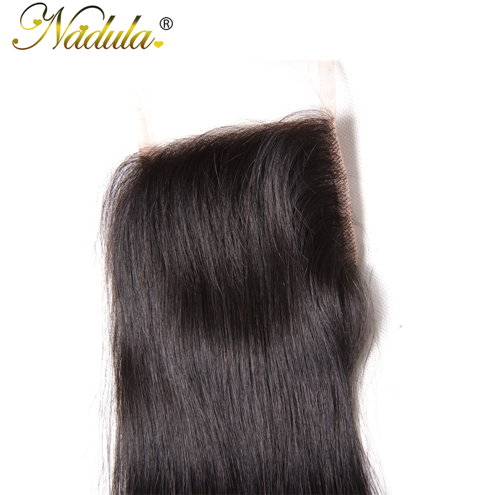 Nadula Hair 4X4 Lace Closure Straight  Closure With Baby Hair Swiss Lace Medium Brown  Closure 8-18inch 5