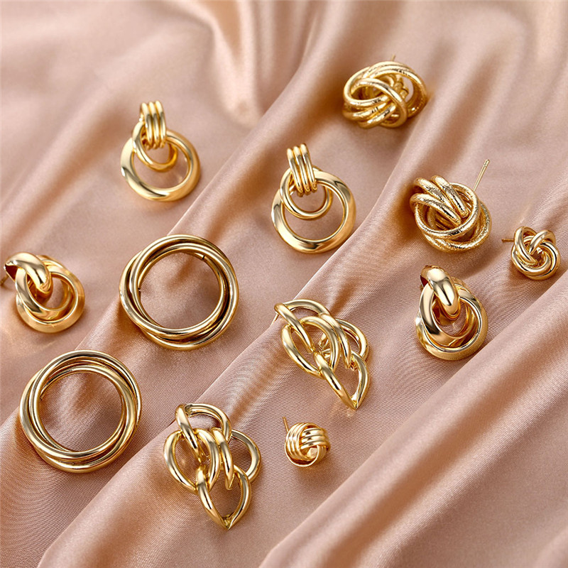 High Quality Copper Alloy Geometric Earrings For Women Vintage Statement Twisted Metal Stud Earrings Fashion Wedding Jewelry