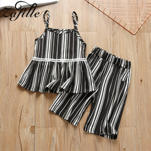 ZAFILLE Summer Baby Girl Clothes Cotton Toddler Outfits Sets Sleeveless 2Pcs Kids Clothes Striped Girls Clothing 2020 Baby Suits winter baby girl clothes set kids clothing sets thick warm baby coats pants 2pcs kids suits flower toddler baby clothes outfits