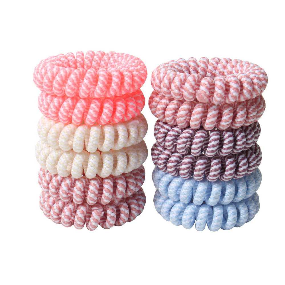 Women Telephone Ring Hair Bands Girl's Rubber Band Lady's Telephone Cord Hair Ties Hair Accessories Candy Color Black And White