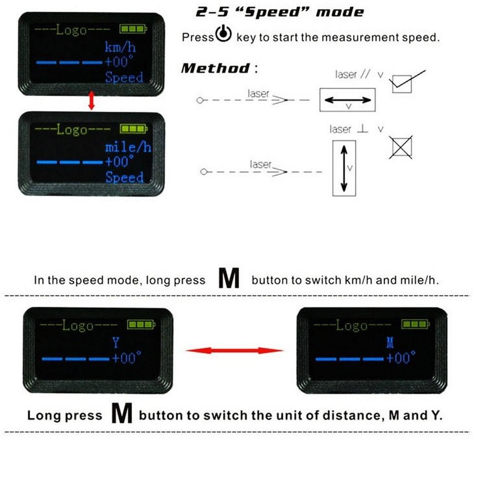 5 In 1 Laser 700M Abstand Meter Entfernungsmesser Nebel Tag Modus + Horizontale Abstand + Geschwindigkeit Messung Laser-entfernungsmesser jagd