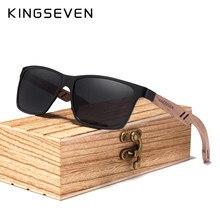Kingseven 2021 nova tr90 + natural nogueira de madeira óculos de sol dos homens 100% polarizado uv400 lente retro óculos de sol dobradiça reforçada