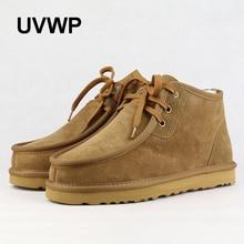 Hohe Qualität männer Schnee Stiefel Mode Warme Winter Stiefel Männer Schaffell Schuhe 100% Wolle Natürliche Pelz Echtem Leder Stiefeletten stiefel