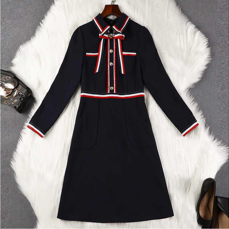 Lan Mu Square Large Size Dress Slimming Belly Covering A- Line Skirt Sub-2019 Autumn Clothing New Style Retro Dress Fat Mm10223