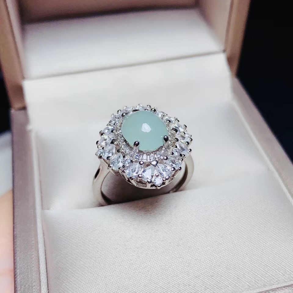 KJJEAXCMY boutique เครื่องประดับ 925 เงินสเตอร์ลิงฝังธรรมชาติ jadeite หยกจี้แหวนหญิงชุดสนับสนุนการตรวจจับแฟชั่น