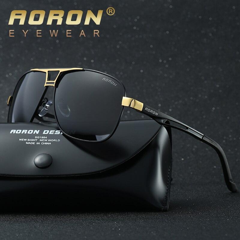 Aoron polaroid óculos de sol masculino design de luxo armação de magnésio de alumínio óculos de sol vintage oculos de sol