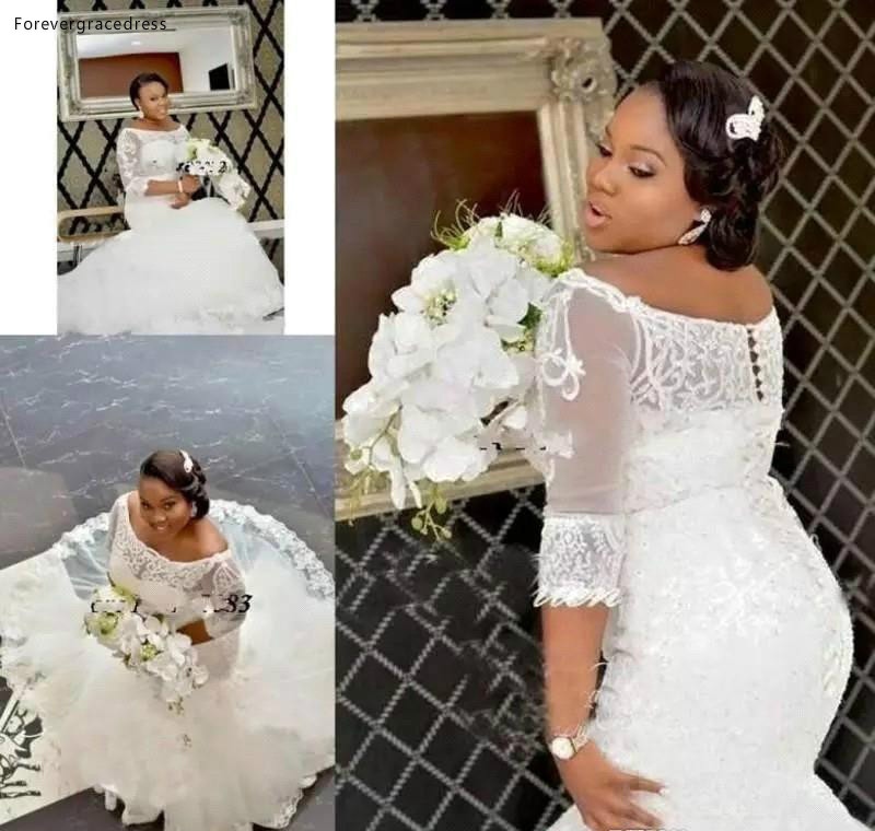 2019 South African Nigerian Lace Appliques Mermaid Wedding Dress Off The Shoulder Long Church Garden Bride Bridal Gown