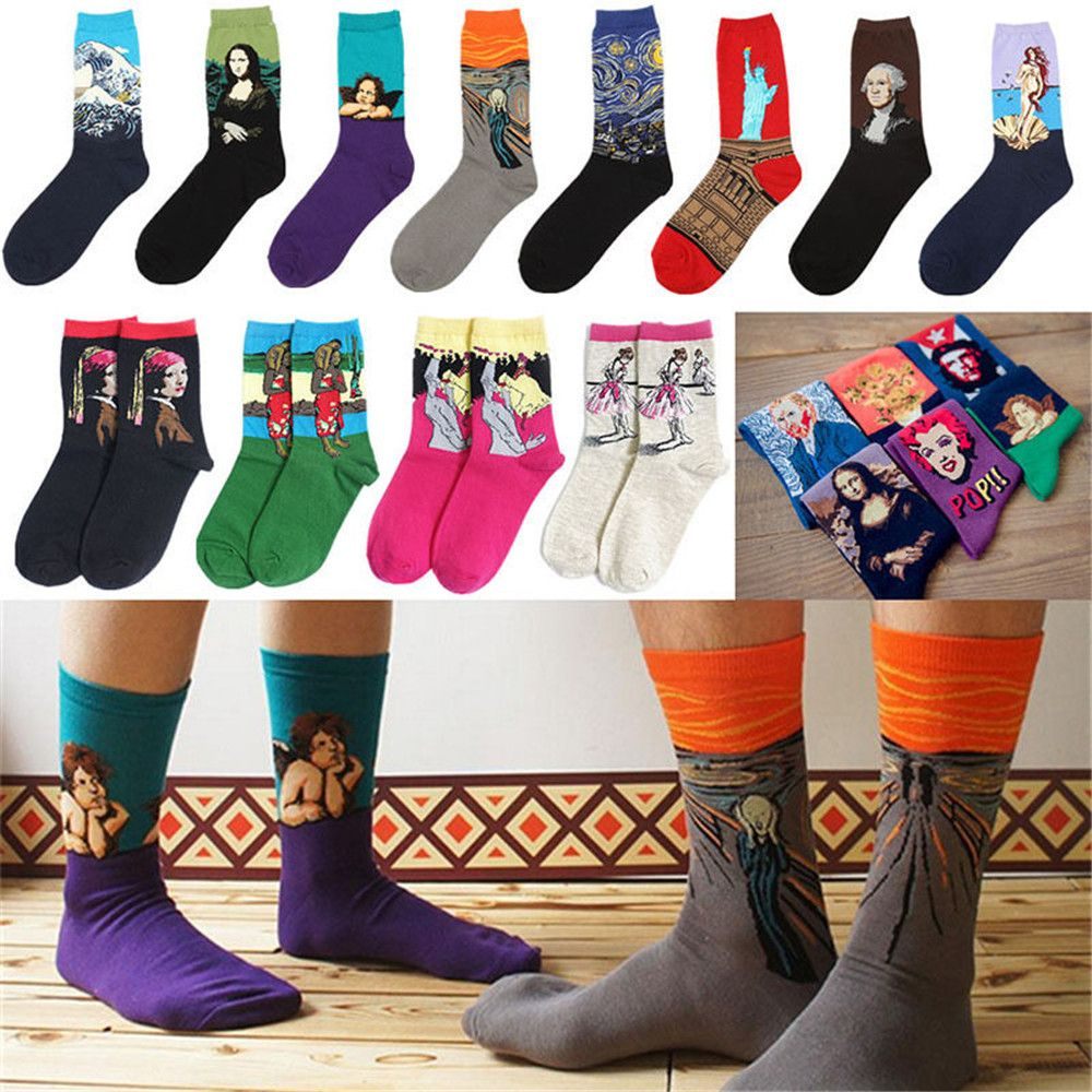 30 Hot Sale Classic Autumn Winter Retro Women Personality Art Van Gogh Mural World Famous Painting Female Socks Oil Happy Socks