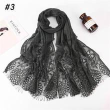 Bufanda de encaje hiyab con flores ahuecada para mujer, chal, Color liso, musulmán plano, para el pelo, para invierno, 2020