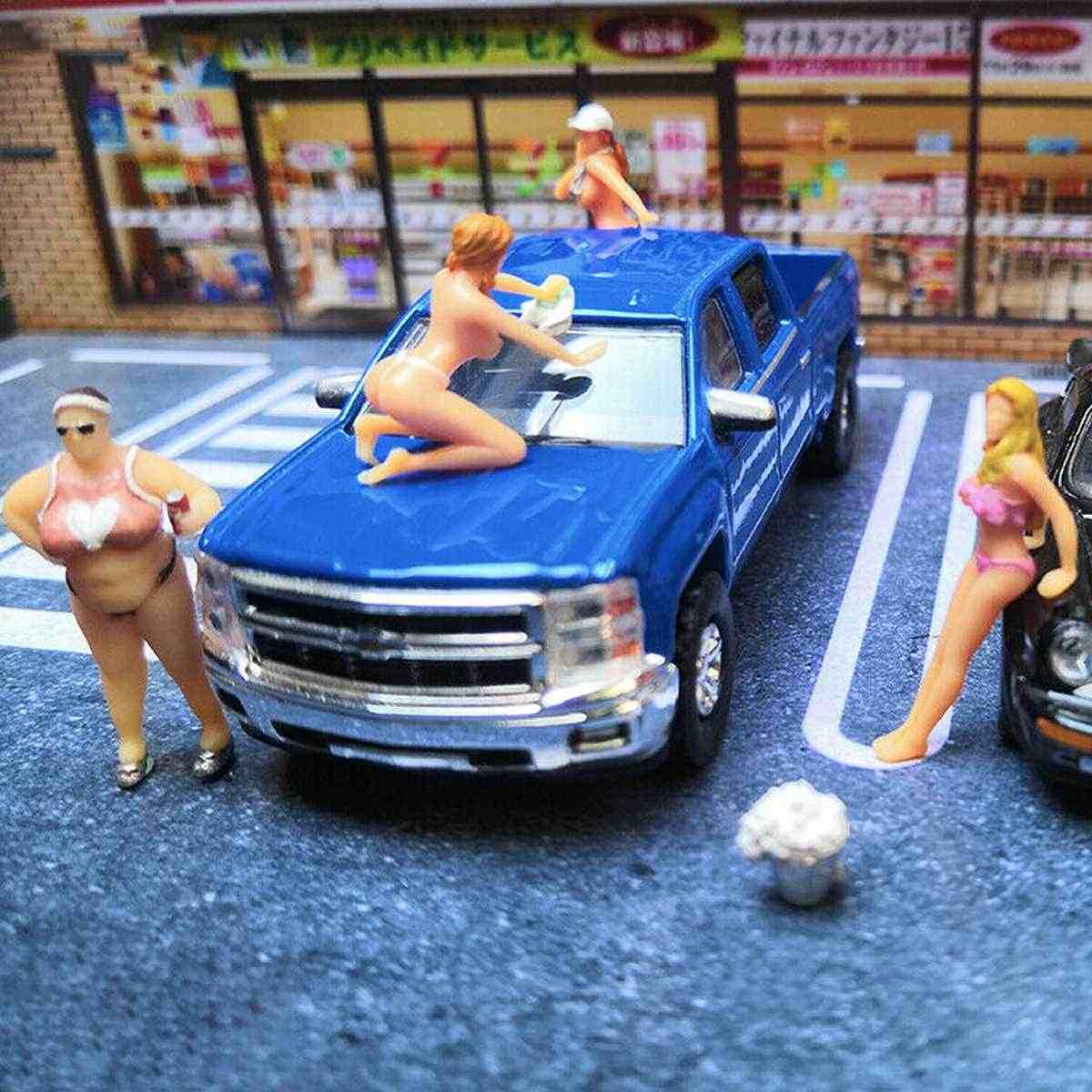 1: 64 Ras Medali Diorama Cuci Mobil Bikini Adik Gambar Yang Indah Gadis Model Skenario Mainan untuk Model Kekasih untuk Kotak Korek Api