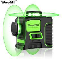 SeeSii 12 Lines 3D Green Laser Level Self-leveling Horizontal&Vertical 360 Degree 8 Lines 2D Cross Line kruislaser nivel  verde цена в Москве и Питере