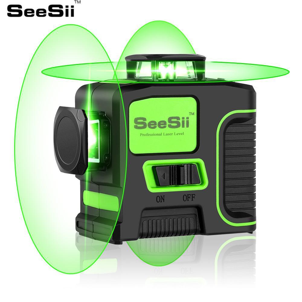 Seesii 12 linhas 3d laser verde nível auto nivelamento horizontal & vertical 360 graus 8 linhas 2d cruz linha kruislaser nivel verde Níveis de laser     - title=