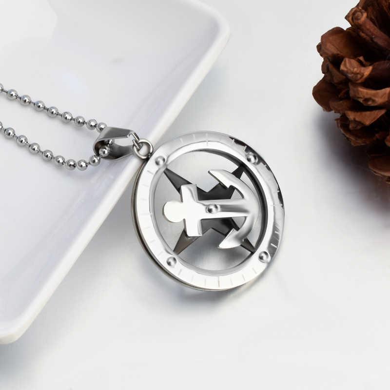 SOITIS kotwica wskaźnik tarczowy okrągły moda naszyjnik łańcuch koralik ze stali nierdzewnej modny prosty naszyjnik biżuteria prezent dla mężczyzny