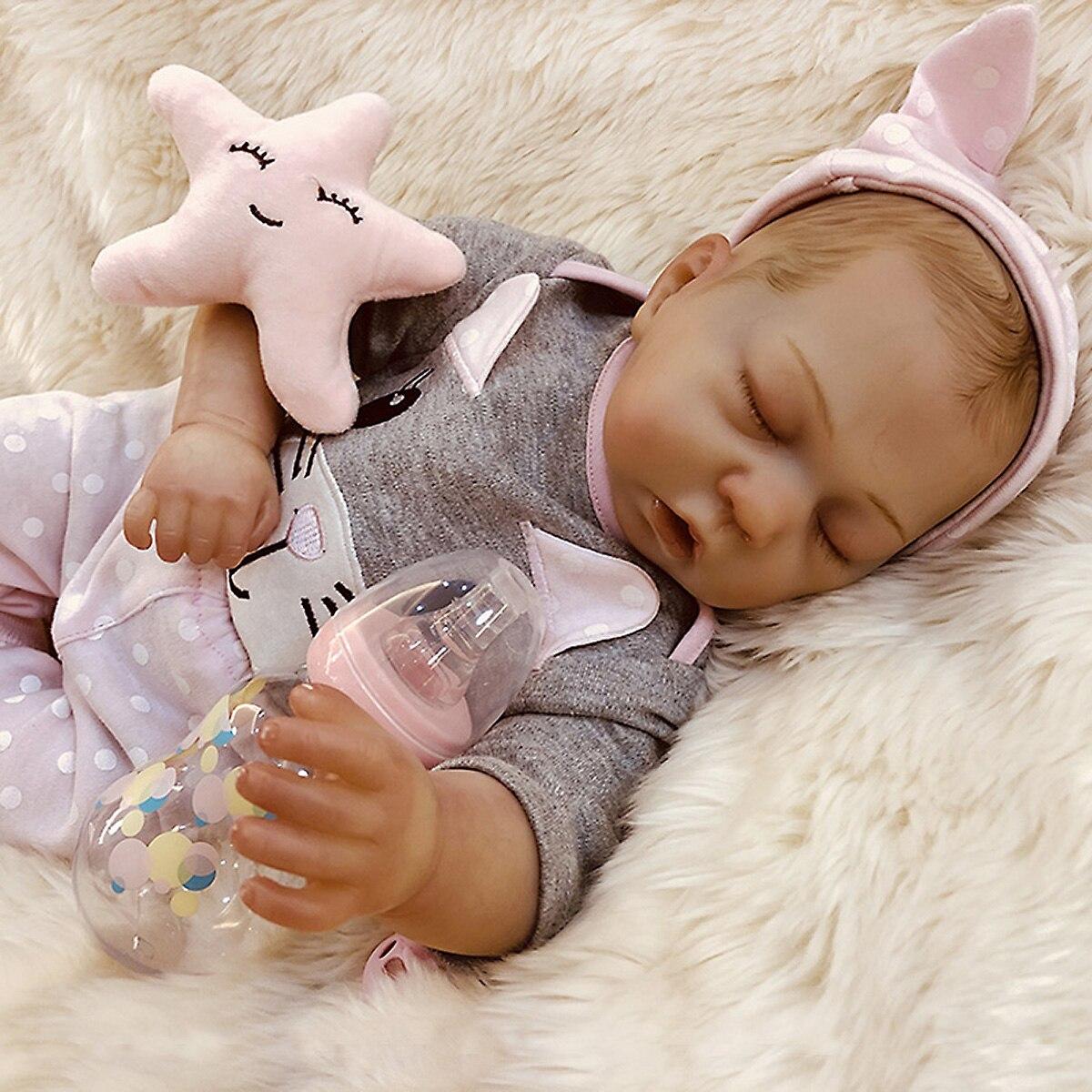 Reborn Puppe 47,5 CM Hand-Zeichnung Premie Baby Junge Haar Lebensechte Echt Weichen Touch Kuschel
