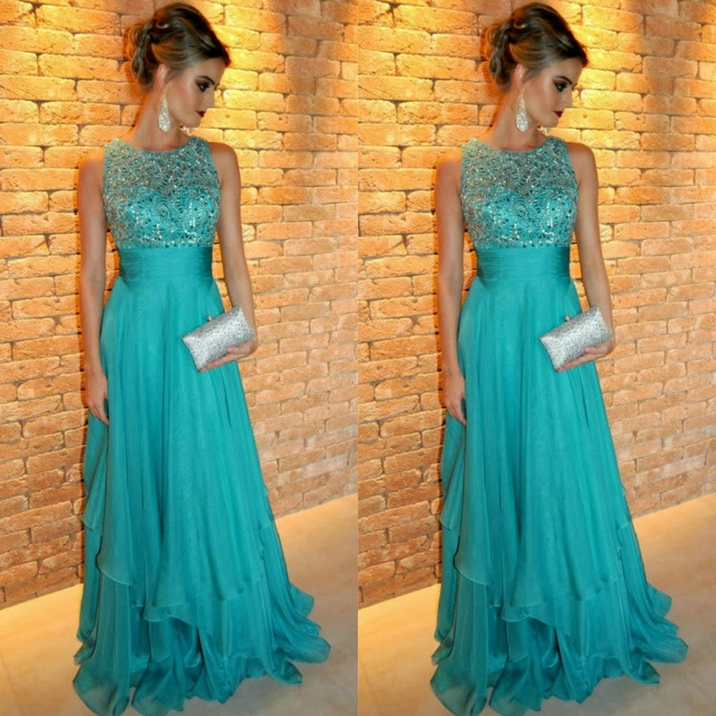 2018 Formal Evening Gown Turquoise Robe De Soiree Sleeveless Floor Length O Neck Off The Shoulder Mother Of The Bride Dresses