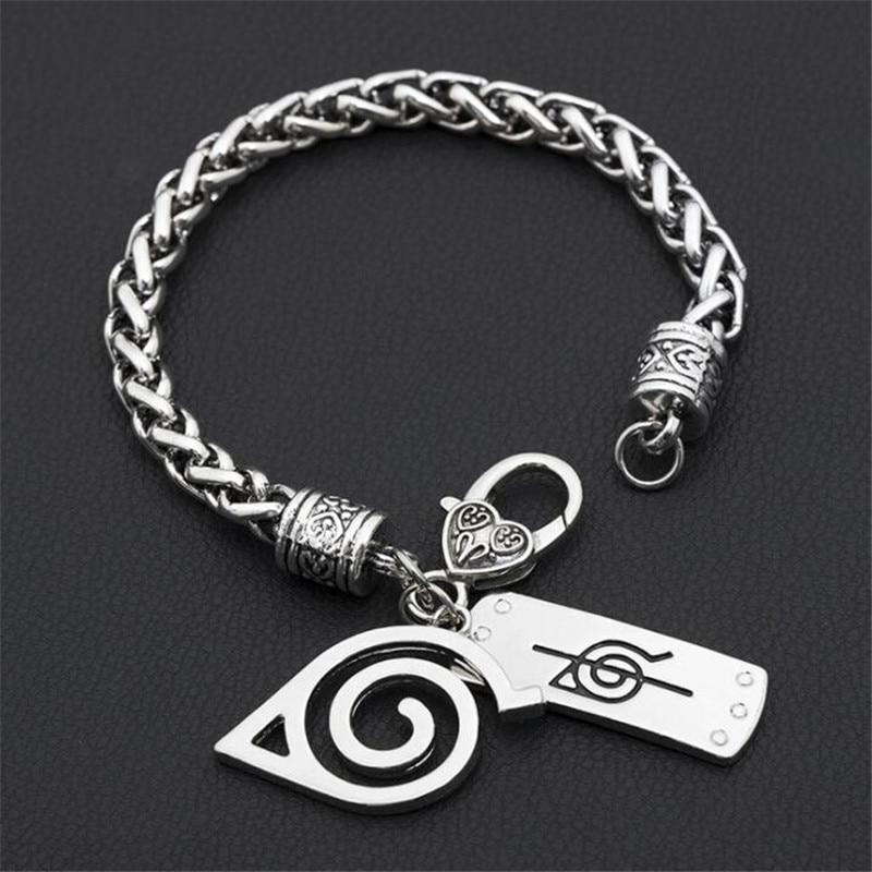 Anime Cuff Bracelet Men Women Accessorties Jewelry Akatsuki Itachi Konoha Logo Bracelets Hand Chains Gift