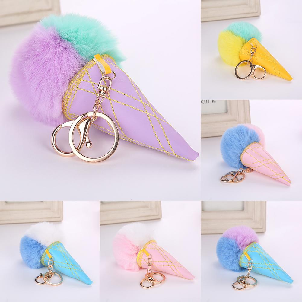 1PC Car Key Ring Hair Ball Acrylic Ice Cream Cone Keychain Imitation Fur Ball Cone Pendant Ladies Bag Pendant Pendant Jewelry