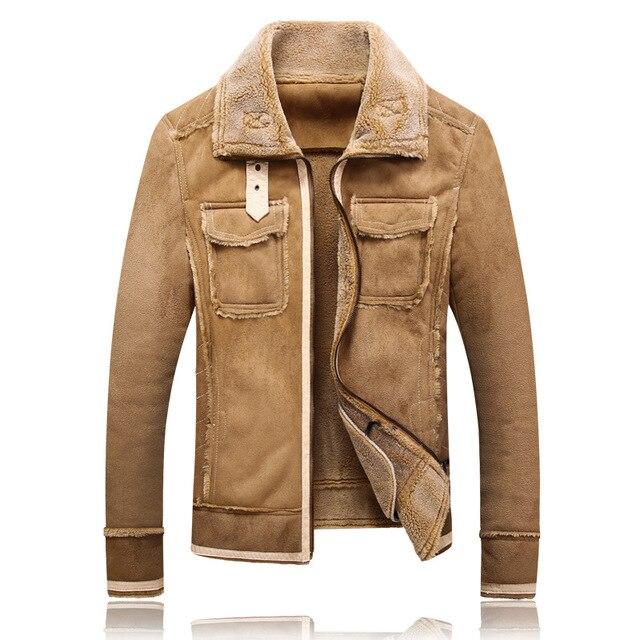 Plus size 5XL Winter Thick Leather Coat Men Casual flocking Leather Jacket Men's Warm Motorcycle leather Jackets Coats Black - 4