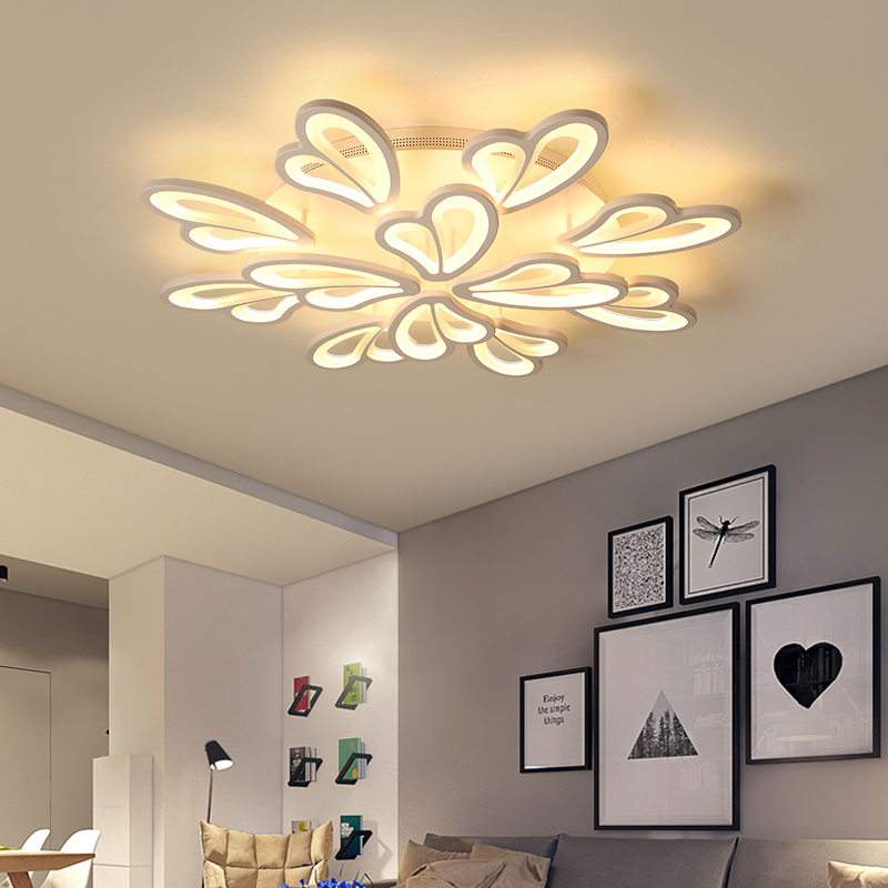 Butterfly love flower living room lamp simple modern led ceiling lamp creative personality warm bedroom study hall lighting